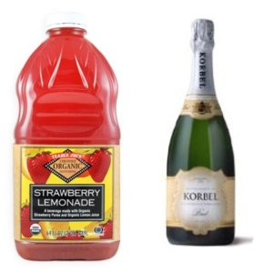 Trader Joe's Strawberry Lemonade + Korbel Brut champagne=LOVE