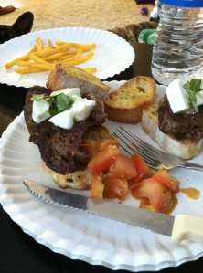 Voila! Caprese Tenderloin (tomatoes on the side, as Kevin is picky--though he ate them all!)