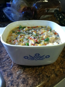 Chicken & Rice Casserole before I put it in the oven!